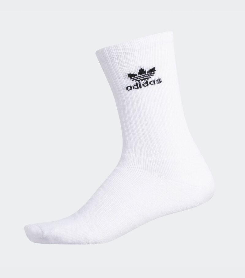 Adidas White Trefoil Crew Sock